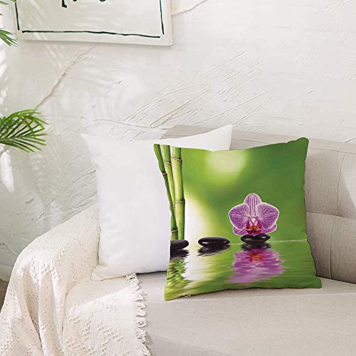 Cushion Covers 20x 20 inch Soft Polyester,Spa Decor,Spa Floral Decorating Summertime Holidays Exotic Positiveness Lilac B,Square Throw Pillow Case for Living Room Sofa Couch Bed Pillowcases 50 x 50 cm