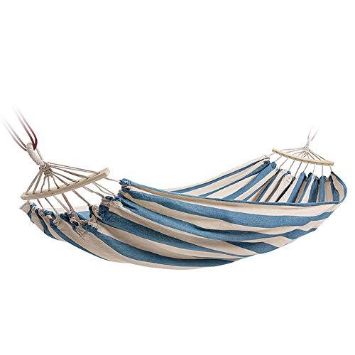 Poids léger Double Hamac 2 Places avec Sac De Rangement + Corde À Nouer,300kg Capacité de Charge (190x150cm) Rayures Bleues Et Blanches Kit Camping pour Plein Air, Randonnée, Randonnée