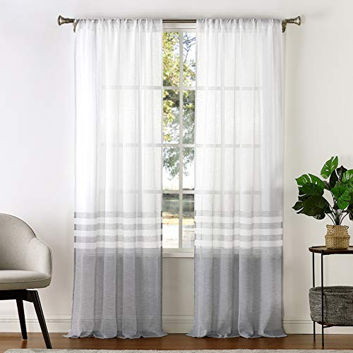 West Lake Sheer Curtain Color Block and Stripe Panels for Bedroom Living Room Kitchen Pair Set Rod Pocket Window Drapes Farmhouse Linen Look Semi Sheer Curtain, 40'' x 108''x 2, Gray and White