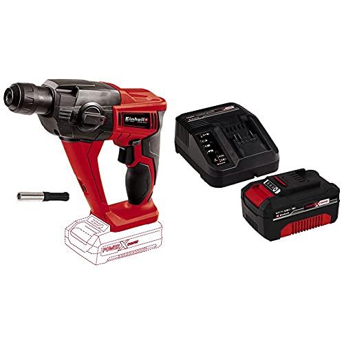 Einhell 4513812 Martillo Percutor Neumatico TE-HD 18 li 12 W, 18 V, Rojo Sin batería ni cargador + 4512042 Kit con Cargador y batería de repuest, tiempo de carga: 60 Minutos