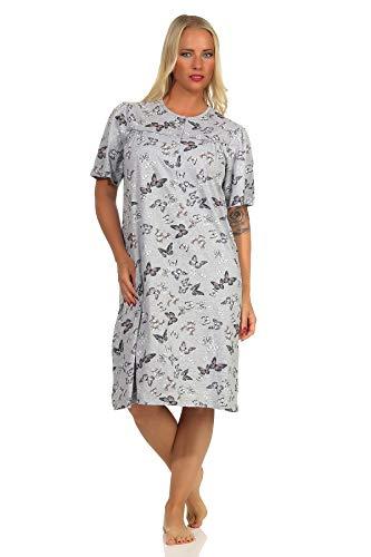 NORMANN-Wäschefabrik Damen Nachthemd Kurzarm Schmetterlinge als Design mit Knopfleiste am Hals - 102 210 90 106, Farbe:grau, Größe:52/54