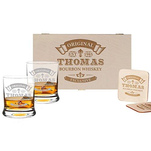 Whisky Geschenk-Set - 2 Leonardo Whiskygläser, 2 Untersetzer in Holzbox
