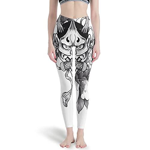 LPLoveYogaShop Hannya - Leggings japoneses para mujer, diseño de flores y dibujos, para yoga, correr blanco L