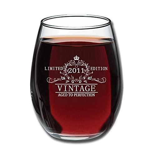 LL·Shawn Stemless 2011 Aged to Perfection - Copa de vino tinto grabada, color blanco personalizado de 350 ml
