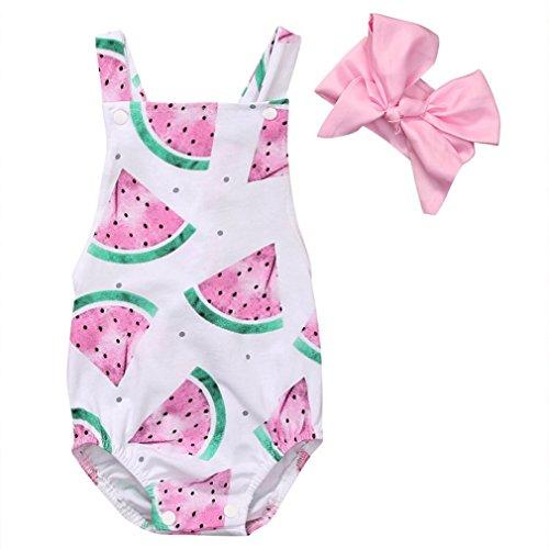 SAMGU Nouveau-né Baby Girls Watermelons Imprimer Backless Ruffle Bodysuit Romper avec Bandeau Rose + Blanc