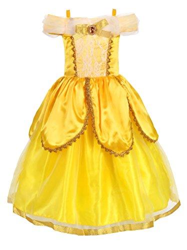 JerrisApparel Costume da Principessa Belle Deluxe Vestito da Festa Fantasia Le Ragazze Si Vestono (Giallo 2, 3 Anni)