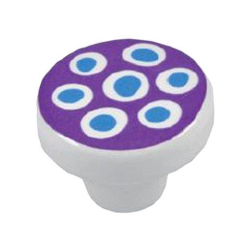 Bouton de meuble, bleues à pois céramique wendekreis schrankknopf