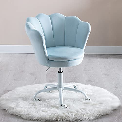 Wahson Velvet Kids Desk Chair Swivel Chair with Armrests for Girls Children Study Office Chair Height Adjustable (Light Blue)