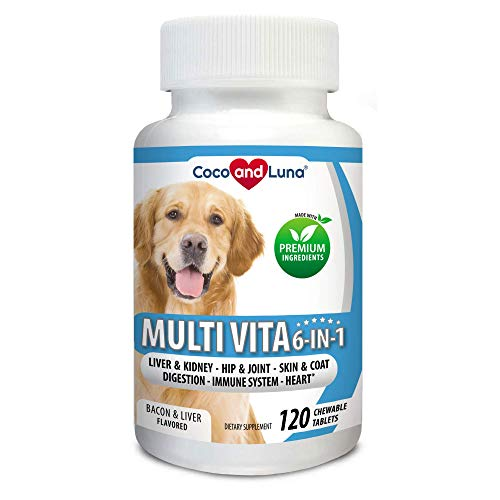 Coco and Luna Multivitamin for Dogs - Glucosamine, Chondroitin, Essential Dog Vitamins, DHA, EPA, Probiotics & Enzymes, Immune Support for Dogs - 120 Chew-able Tablets