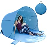BACKTURE Tenda da Spiaggia, Tende Familiari Pop Up Portatile Anti UV 50+ per 3-5 Persone, 220 * 145 * 120cm