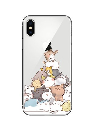 iPhone X Case/iPhone Xs Case,Blingy's Lovely Cats Style Transparent Clear Soft TPU Protective Case Compatible for iPhone X and iPhone Xs (Cat Pile)