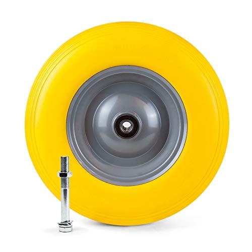 Grafner Schubkarrenrad pannensicher Vollgummi, 4.80/4.00-8 Ø 390mm, Stahlfelge, 180 kg Traglast, inkl. Achse, Schubkarren Ersatzrad PU Reifen