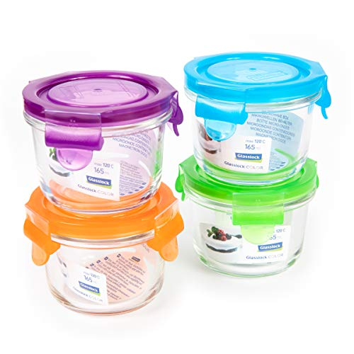 GlassFood – Set von 4 Container Glasslock Baby in 4 Farben Hochwertige Hartglas, 100% Wasserdicht, für Transport und Aufbewahrung, Babynahrung und Pure, Runde 165ml