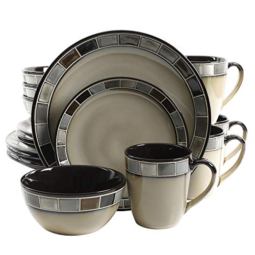 Gibson Elite 114338.16R Casa Gris 16 Piece Reactive Glaze Dinnerware Set, Cream and Grey