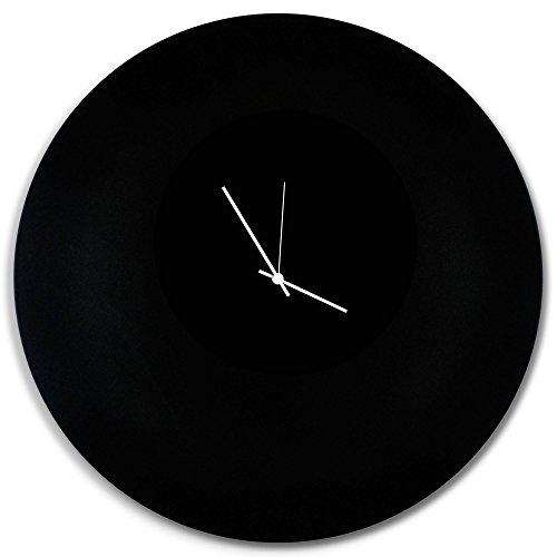 Minimalist black clock 'blackout white circle clock large' contemporary metal wall clocks, monochrome modern decor - 23in. Black w/white hands