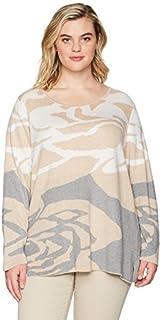 CALVIN KLEIN Women's Plus Size Floral Jacquard Crewneck, lite/Soft White/Multi