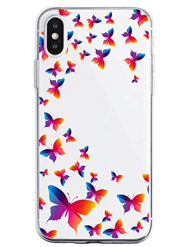 Oihxse Silicone Transparente Case avec Motif Papillon Compatible pour iPhone 7 Plus/iPhone 8 Plus Coque Souple TPU Gel Mode 3D Dessin Étui Ultra Mince Antichoc Anti-Rayures Protection Cover,Coloré 1