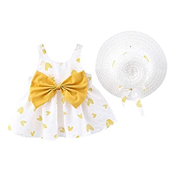 WOCACHI Baby Girls Dresses Hat Sets Toddler Baby Kids Girls Love Print Bow Princess Dresses Hat Outfits New Born Birth Knitted Rib Boatneck Sleeveless Cute Cartoon Patern Blanket o-Neck