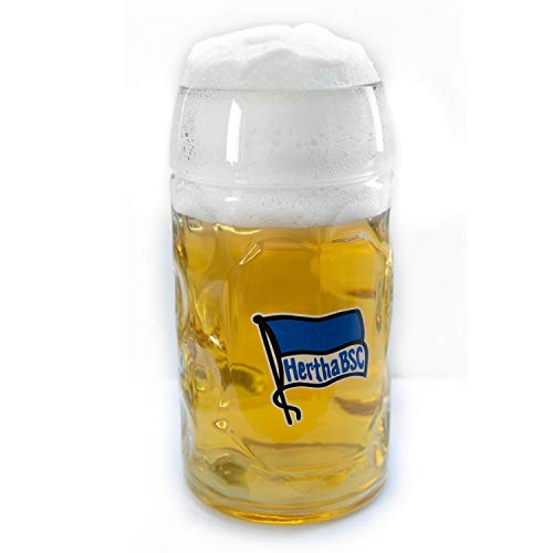 Hertha BSC Berlin Bierseidel 0,5 l Logo Glas, Bierglas, Bierhumpen, Bierkrug - Plus Lesezeichen I Love Berlin