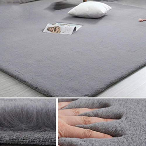 Teppich aus Kaninchenfellimitat, modernes Wohnzimmer, weich, flauschig, Plüsch-Teppiche für Kinderzimmer, Teppiche, Kunstfell-Matten, einfarbig, grau