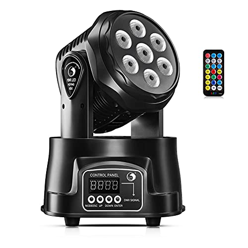 U`King Moving Head Light RGBW LED Stage Lighting Effect 7x10W Moving Heads Wash Lights by DMX and Remote Control with Professional Spotlight for DJ Disco Events Wedding Birthday Party Live Show Bar