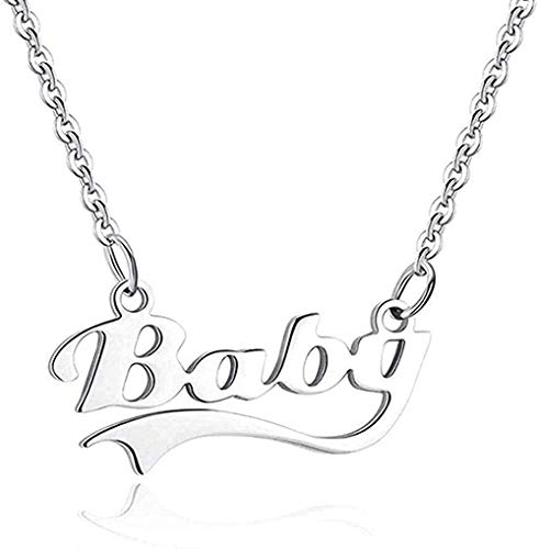 YZXYZH Collar Letra Bebé Cadena De Eslabones De Acero Inoxidable Collar con Colgante De Acero para Mujeres para Mujeres Hombres Regalos