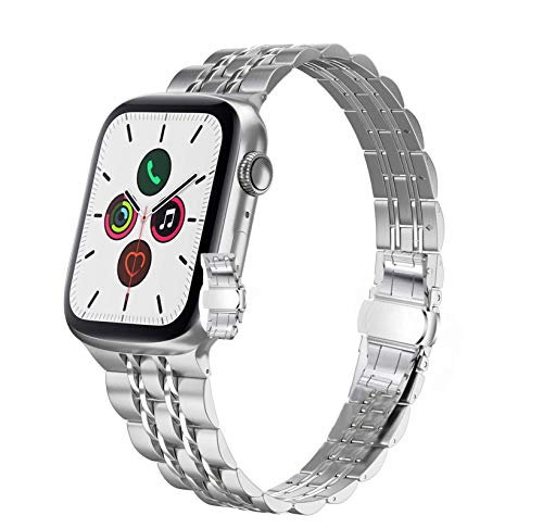 Correa de acero inoxidable compatible con Apple Watch de 38 mm, 40 mm, 42 mm, 44 mm, serie 6/SE/5/4/3/2/1 para mujer (42 mm/44 mm, plata).