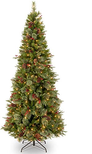 National Tree Company 'Feel Real lit Artificial Christmas Tree Includes Pre-strung White Lights and Stand, 7.5 ft, Colonial Slim