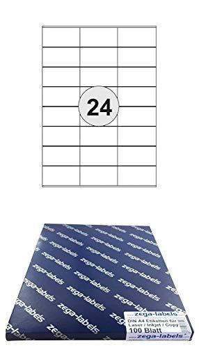 2.400 Etiketten 70 x 36 mm selbstklebend auf DIN A4 Bögen (3x8 Etiketten) - 100 Blatt Pack - Universell für Laser/Inkjet/Kopierer einsetzbar - 70x36mm 24-teilig