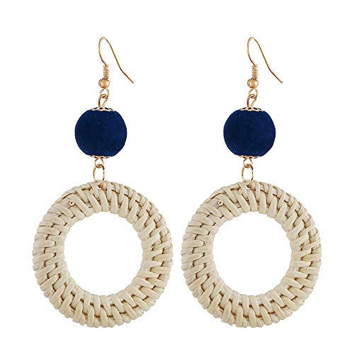 GGSDDU Fashion Wooden Rattan Circle Lightweight Earrings For Women Round Ball Metal Earrings Hooks Summer Ear Jewelry Dangle Earrings Multicolor Colors Available,Navy Blue