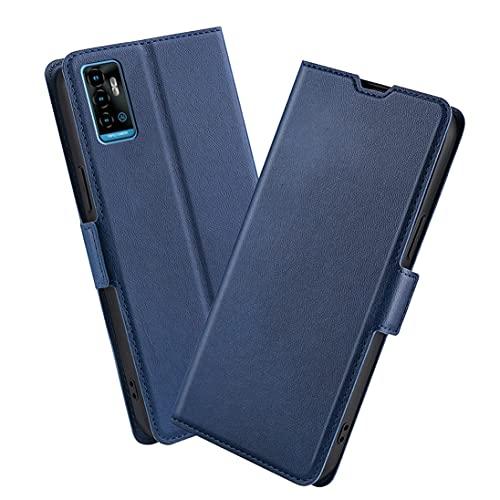 XINNI Handyhülle für ZTE Blade A71 Hülle, PU/TPU Retro Klappetui Schutzhülle Flip Magnetisch Handyhülle, Blau
