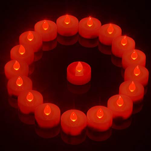 PChero Velas de té LED rojas, 18 paquetes velas parpadeantes sin llama con pilas, temporizador de 6 horas, velas votivas (1,18 x 1,38 pulgadas) para hogar habitaciones festivales decoración – rojo