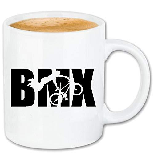 Reifen-Markt Kaffeetasse BMX Racing - Fahrrad - CROSSRAD - BMX Helm - BMX Meisterschaft Keramik 330 ml in Weiß