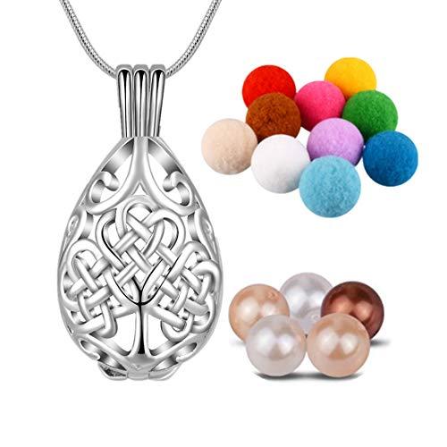 CELESTIA Silber Keltisch Baum des Lebens Medaillon Ätherische Öle Diffusor Halskette, 10 Absorbierende Pompons 6 Perlen, 61cm Kette, Aromatherapie Schmuck