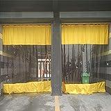 AMSXNOO Cortinas De Lona Al Aire Libre, 0,6 mm Transparente Vertical Lavable Duradera con Ojales, Lona Transparente para Pabellón Jardín Pérgola Porche Garaje (Color : Yellow, Size : 2.8X2M)
