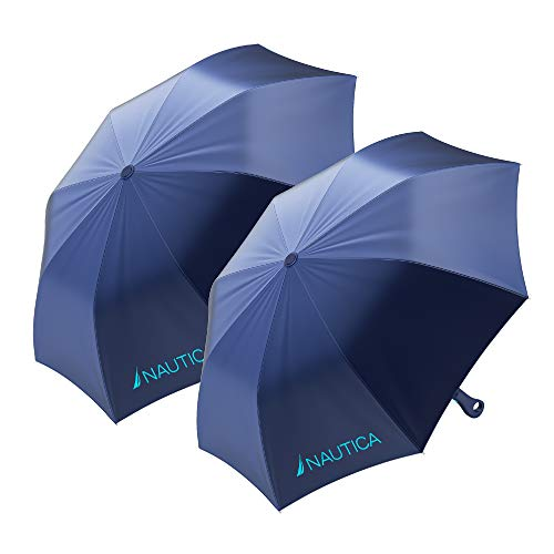 2-Pack Nautica Umbrella for Travel - Auto Open Compact, Lightweight & Folding - Best Windproof Umbrellas for Rain, Sun & Wind Protection, Small, Automatic & Collapsible in Navy