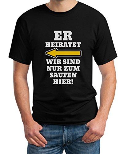 Shirtgeil Shirtgeil JGA Kombi Shirt - Links, Er Heiratet Wir Sind Nur Zum Saufen Hier Polterabend Junggesellenabschied Manner Herren T-Shirt, Schwarz, XL, Schwarz, XL