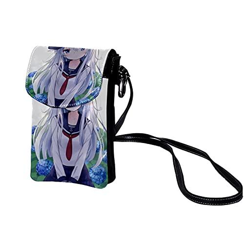 Haminaya Mujer Bolso para teléfono móvil Chica de dibujos animados (77) Bolso bandolera Monedero Mini Bolso de cuero ligero para teléfono móvil 19x12x2cm