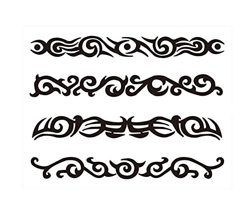 3 Feuilles Motif Totem Body Tattoo temporaire Autocollants pour Halloween Cosplay Costume Party