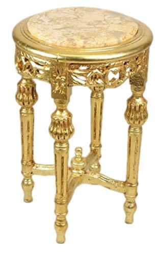 Casa Padrino Barock Beistelltisch mit cremefarbener Marmorplatte Rund Gold 50 x 35 cm Antik Stil - Telefon Blumen Tisch