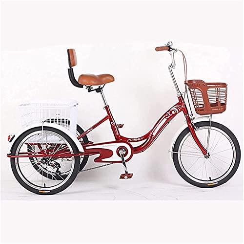 XBR Dreirad für Erwachsene mit Korb,Dreirad für Erwachsene Senioren Damen Herren, 1 Gang 3-Rad Fahrrad Trike mit Einkaufskorb Dreirädriges Liegerad