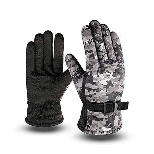 MIKI-Z Herren Winter wasserdichte Vollfinger-Thermohandschuhe Dickes Plüschfutter Camouflage Print rutschfeste Handfläche Einstellbare Schnee-Ski-Handschuhe
