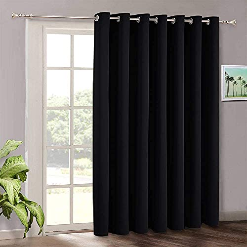 Extra Wide Curtain 100 inch - Temporary Portable Sliding Glass Door Curtains Heavy Duty, Light Block Insulated Large Window Decor for Bedroom Dining Office Sunroom Backdrop, 100 x 84, Black
