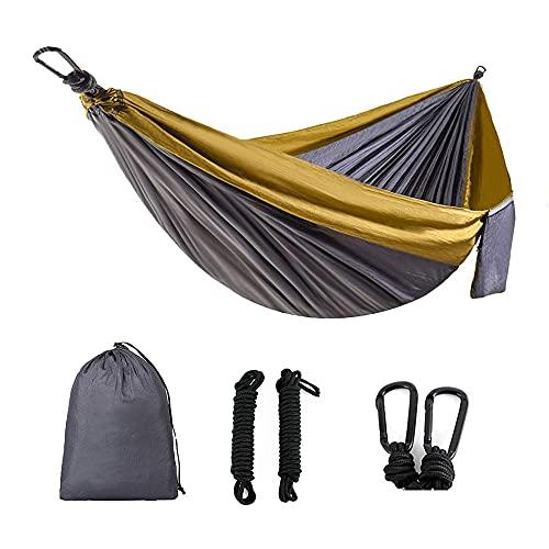 LLHM Soltero y Amplificador Hamaca Doble con 2 árboles Straphight Portable Portable Parachute Nylon Set para la Playa de mochileros de Viaje