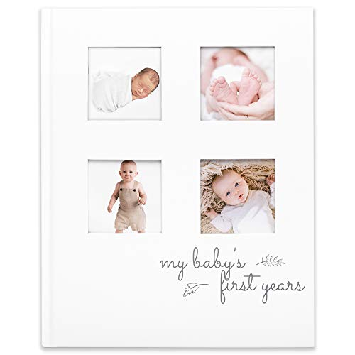 Baby First 5 Years Memory Book Journal - Modern Minimalist Hardcover 66 Pages First Year Milestone Newborn Journal for Boys, Girls - All Family, LGBT, Single Mom Dad, Adoptive - Photo Album Frame