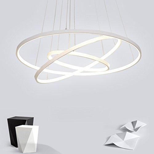 72W LED Pendelleuchte Esstisch Modern Drei Ring Design Lampe Innen Beleuchtung Hängelampe Acryl Kreative Leuchte Dekoration Kronleuchter für Wohnzimmer Esszimmer Dimmbar Stufenlos Lüster , Weiß