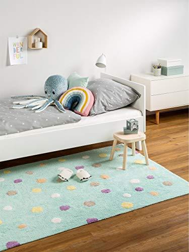 benuta Bambini Dots - Alfombra Infantil, algodón, Turquesa, 150x225 cm