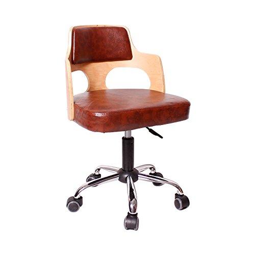 Chaises Le petit étudiant moderne de chaise recule et arme le tabouret en bois de maison d'acier inoxydable -by BOBE SHOP (Couleur : Brown pu, taille : 49cm)