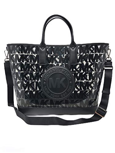 MICHAEL Michael Kors Fulton Large Sport Clear Black Signature Plastic Tote Large with Strap