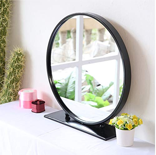 Jiamuxiangsi- Make-up Spiegel - Europese Desktop Spiegel, Ronde Make-up Spiegel, Drie Kleuren Optioneel ==spiegel Black-50cm